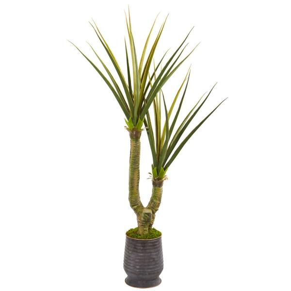 69 in. Yucca Artificial Plant in Ribbed Metal Planter