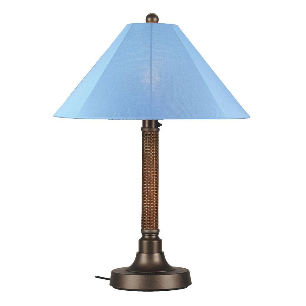 Patio Living Concepts Bahama Weave 34 in. Red Castagno Outdoor Table Lamp with Sky Blue Shade
