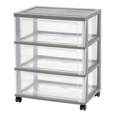 3 Drawer Plastic Wheeled Wide Chest in Gray