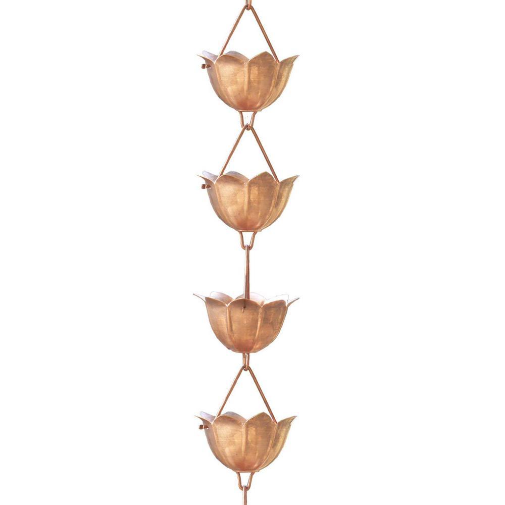 8-1/2 ft. L Monarch Pure Copper Lotus Rain Chain