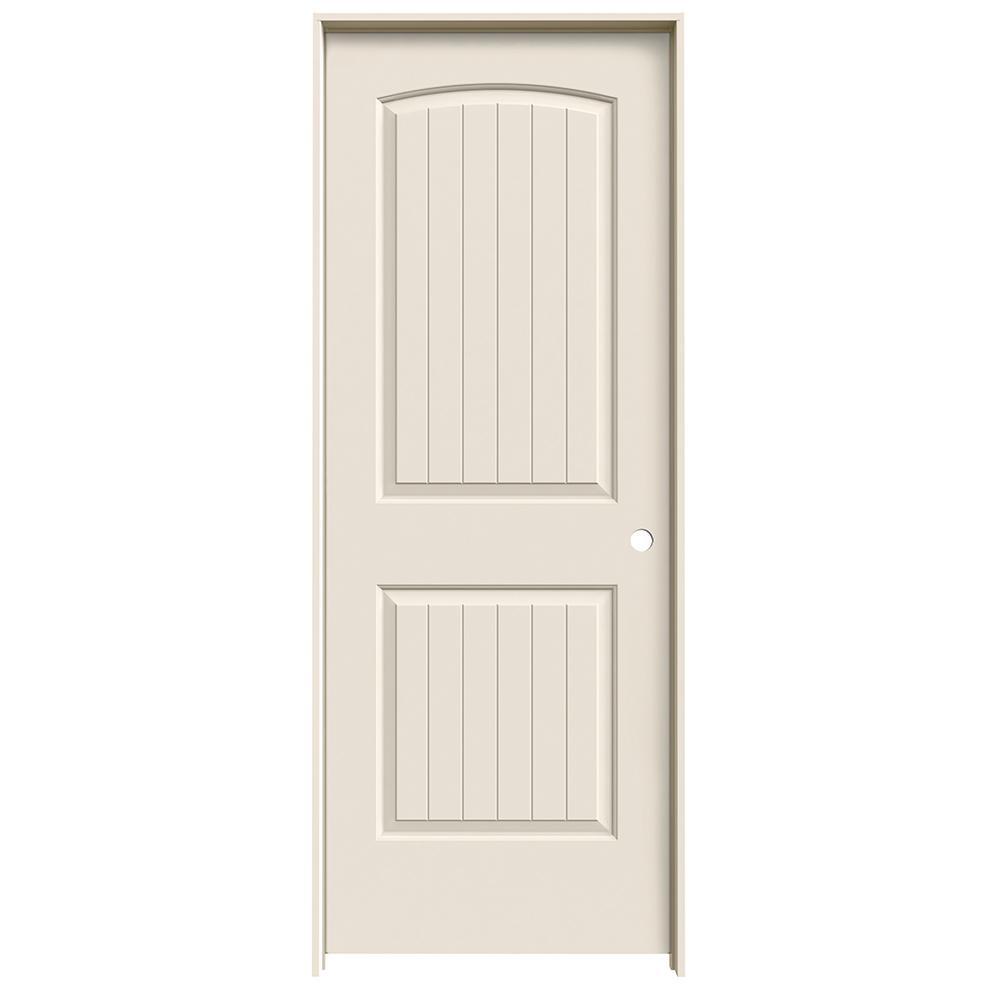 30 in. x 80 in. Santa Fe Primed Left-Hand Smooth Solid Core Molded Composite MDF Single Prehung Interior Door