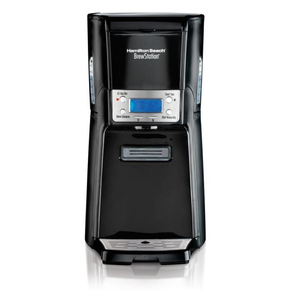 BrewStation 12-Cup Black Stainless Steel Drip Coffee Maker with Removable Resevoir
