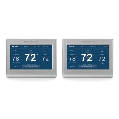 Wi-Fi Smart Color 7-Day Programmable Smart Thermostat with Color-Changing Touchscreen Display (2-Pack)