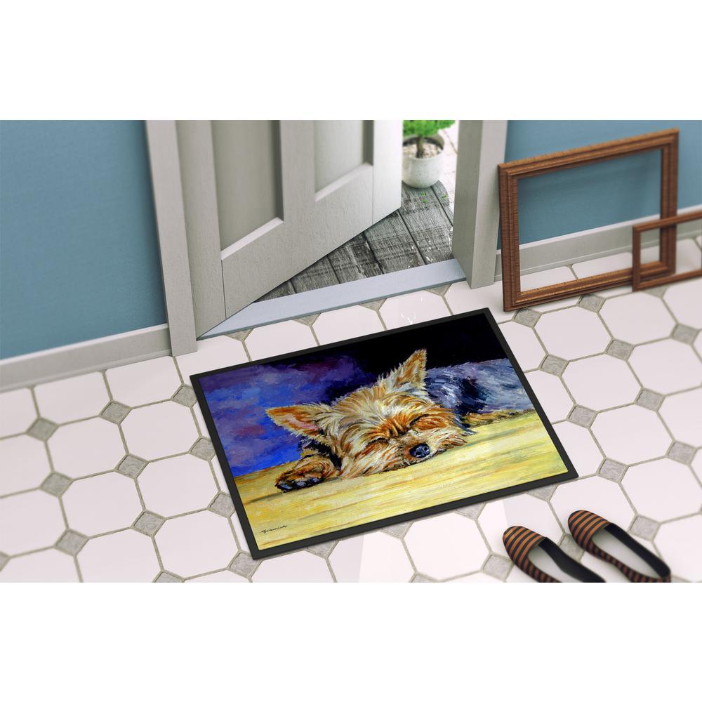 Multicolor Carolines Treasures 7357MAT Yorkie Taking a Nap Indoor or Outdoor Mat 18 x 27