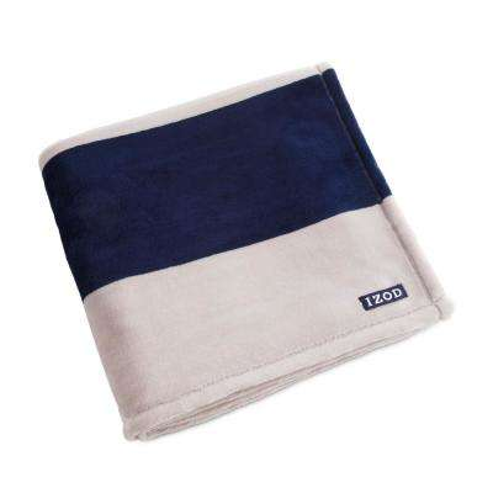Rugby Stripe Plush Blue Block Polyester Throw