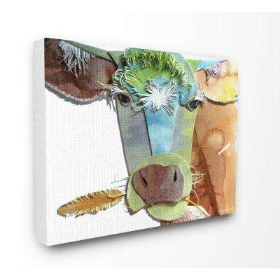"""30 in. x 40 in. """"Watercolor Cutout Collage Cow"""" by Marley Ungaro Printed Canvas Wall Art"""