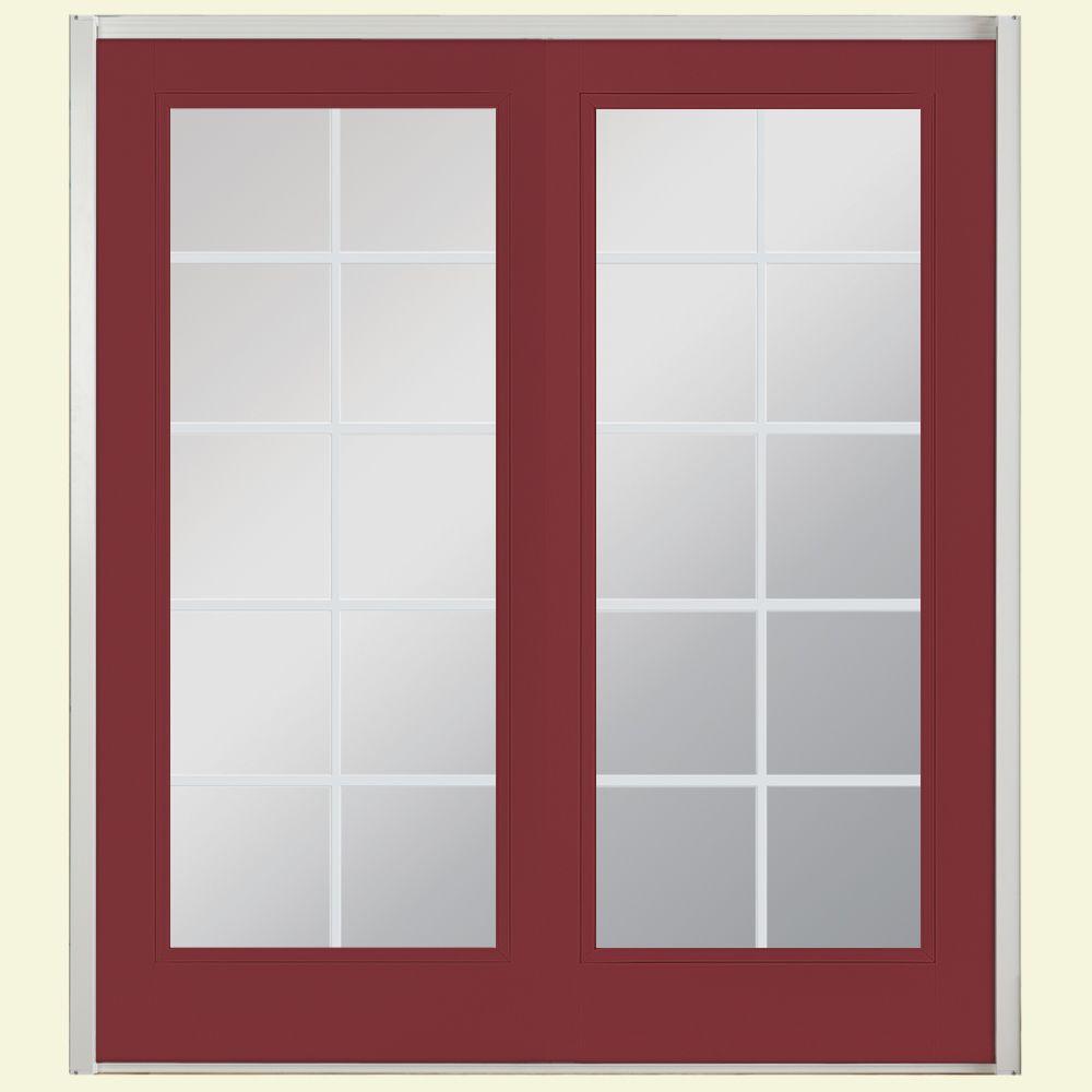 Masonite 72 in. x 80 in. Red Bluff Fiberglass Prehung Right-Hand Inswing 10-Lite Clear Glass Patio Door Vinyl Frame, no Brickmold