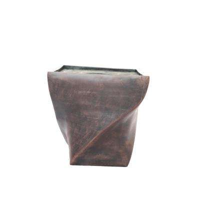 17 in. x 17 in. x 17.5 in. H Black/Bronze Fiberstone Planter