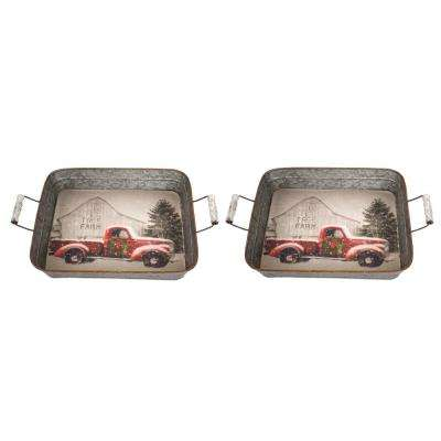 Metal Holiday Scene Tray (Set of 2)