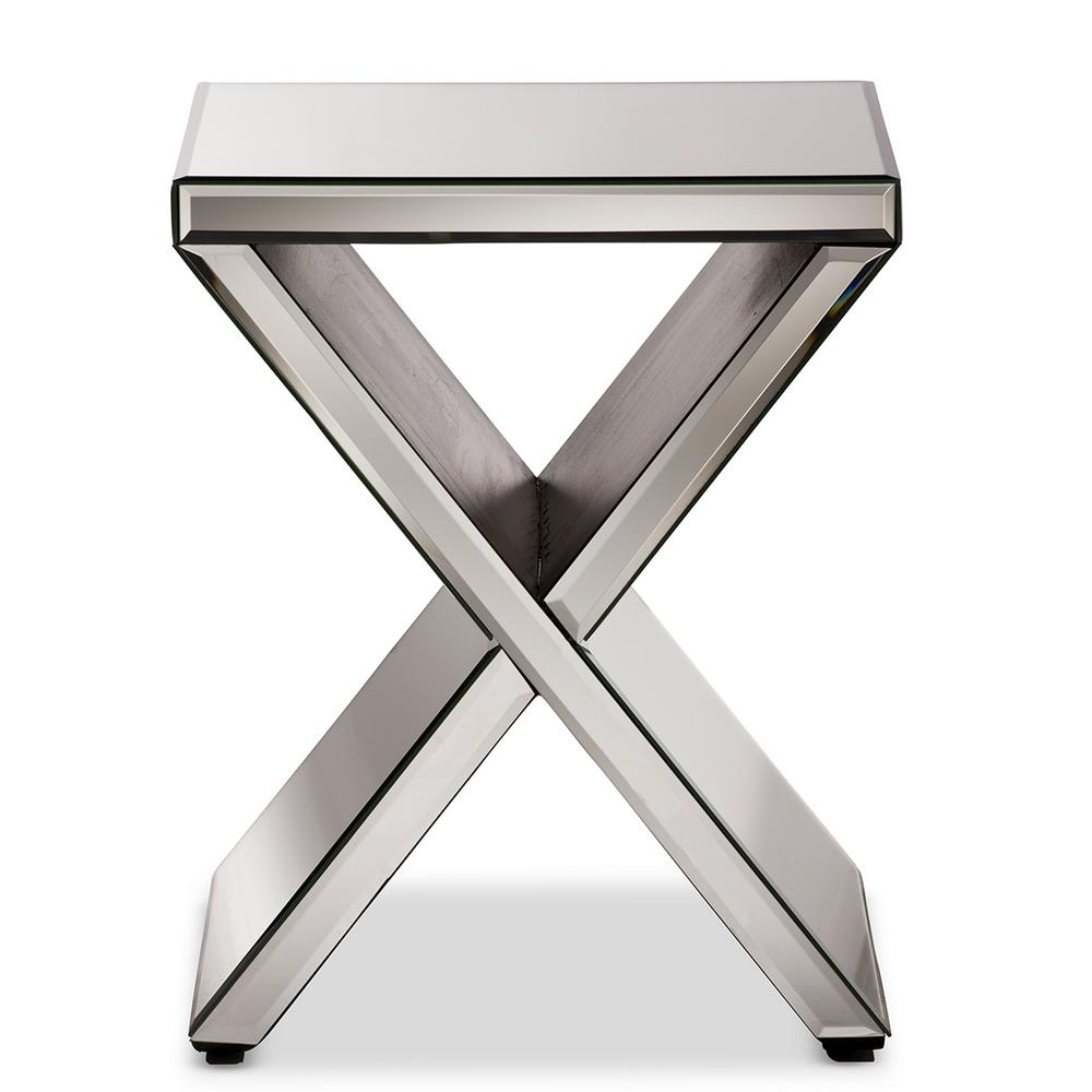 Baxton Studio Morris Glam Silver Metallic Finished End Table