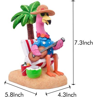 Solar 1-Light 7.3 in Integrated LED Beach Chilling Flamingo with Chair and Palm Tree