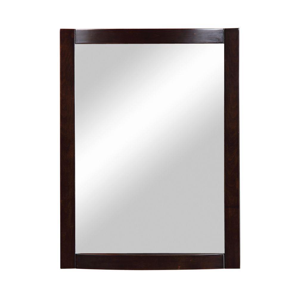 Gavin 32 in. x 24 in. Birch Framed Wall Mirror in Espresso
