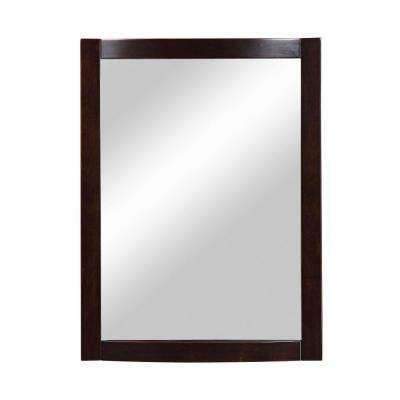 Gavin 32 in. x 24 in. Birch Framed Wall Mirror in Espresso