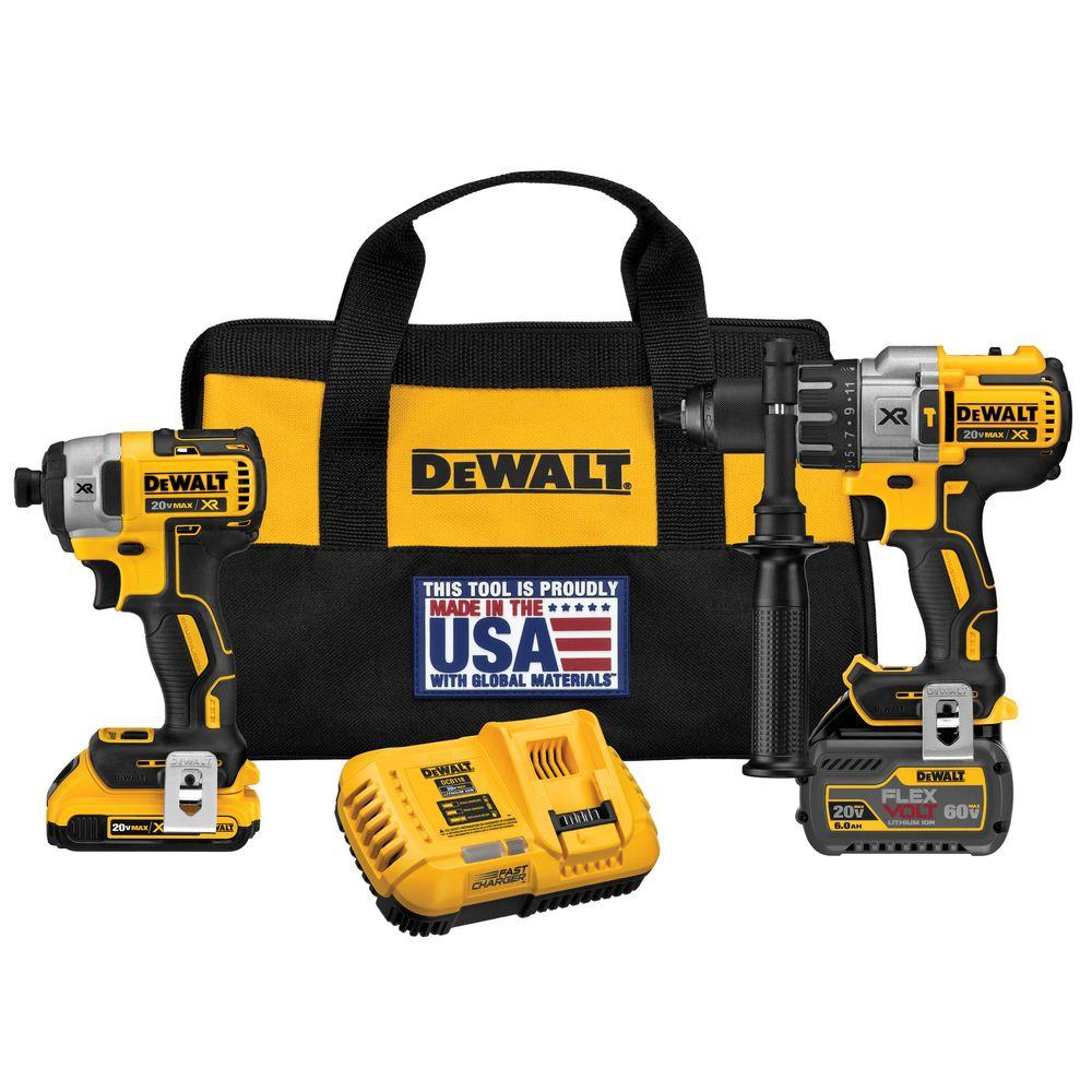 DEWALT FLEXVOLT 60-Volt and 20-Volt MAX Lithium-Ion Cordless Brushless Combo Kit (2-Tool) w/ 2Ah and 6Ah Batteries and Charger