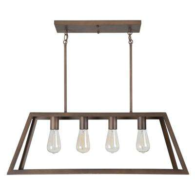 Skyline Ridge Collection 4-Light Oil Rubbed Bronze Island Light with Metal Frame