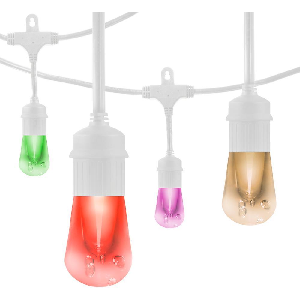 24 ft. Vintage Seasons LED Color Changing Cafe String Lights in White
