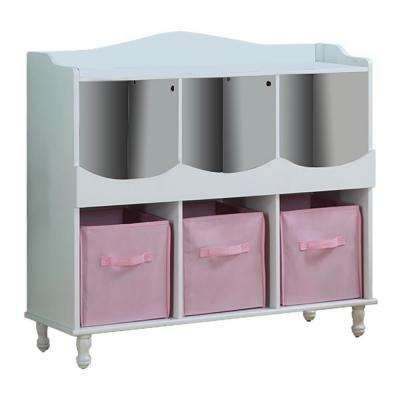 40 in. W x 36.75 in. H Kids 6-Cubby Toy Storage White Wood Chest with 3-Pink Fabric Bins