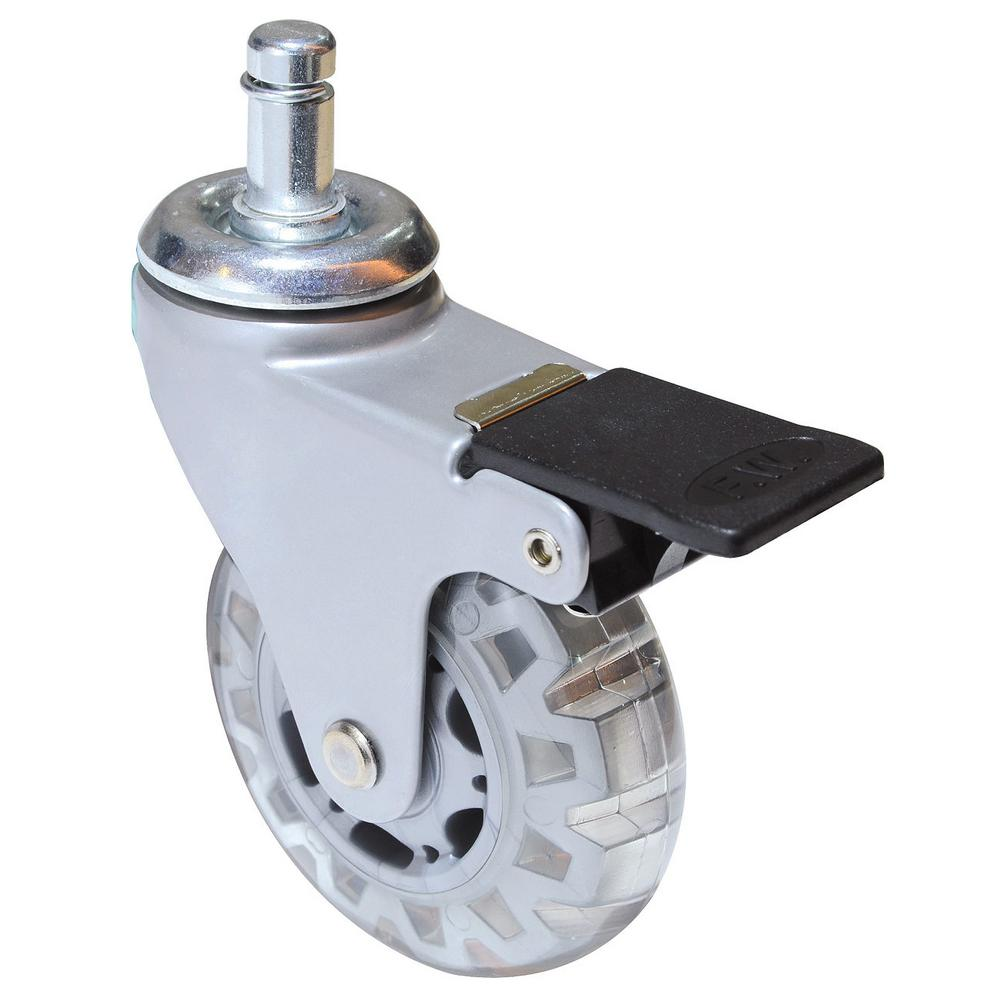 2-15/16 in. Clear White Swivel with Brake Friction Grip Stem Caster,