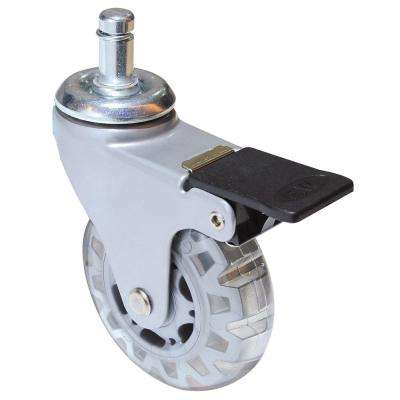 2-15/16 in. Clear White Swivel with Brake Friction Grip Stem Caster, 99.2 lb. Load Rating