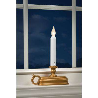 9 in. Warm White LED Deluxe Battery Operated Candle with Antique Brass  Base