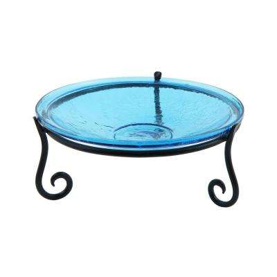 Achla Designs 14 In Dia Teal Blue Reflective Crackle Glass Birdbath Bowl With Short Stand Ii Cgb 14t S2 The Home Depot