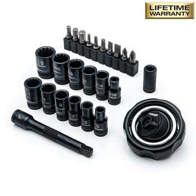 1/4 in. Drive Gimbal Ratchet and Universal Socket Set (25-Piece)