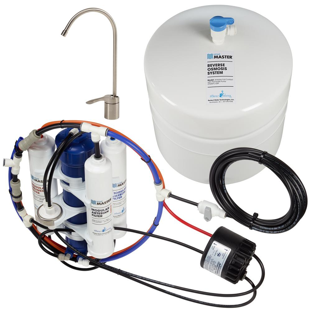 Home Master Artesian Full Contact with Permeate Pump Loaded Under Sink Reverse Osmosis Water Filter System