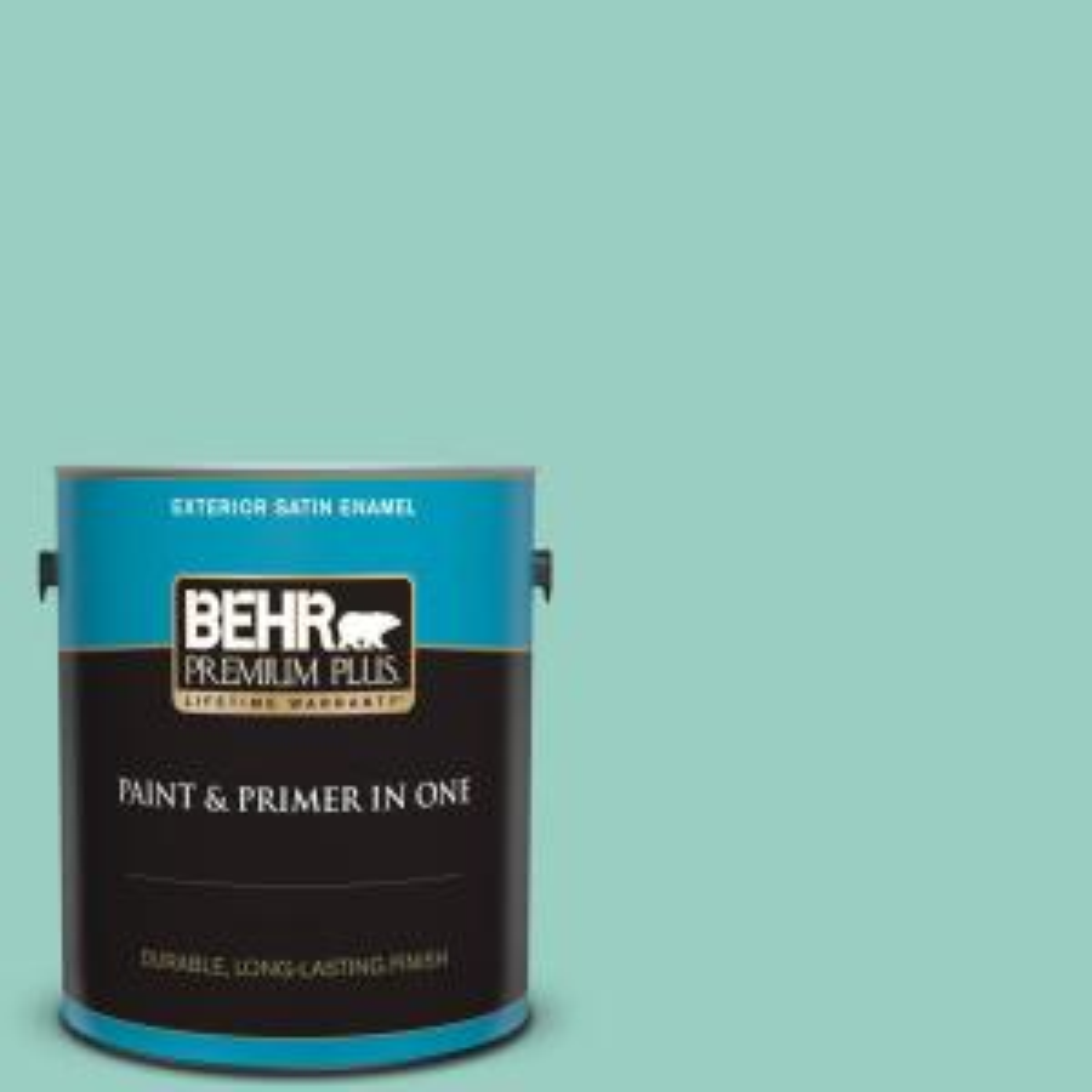 Behr Premium Plus 1 Gal Home Decorators Collection Hdc Sm14 6 Thermal Aqua Satin Enamel Exterior Paint Primer 940001 The Home Depot