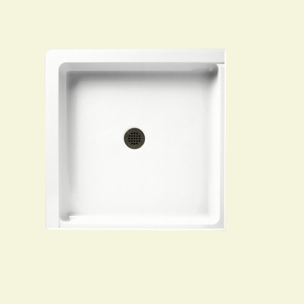 Swan 36 in. x 36 in. Solid Surface Double-Threshold Center-Drain Shower Floor in Tahiti White