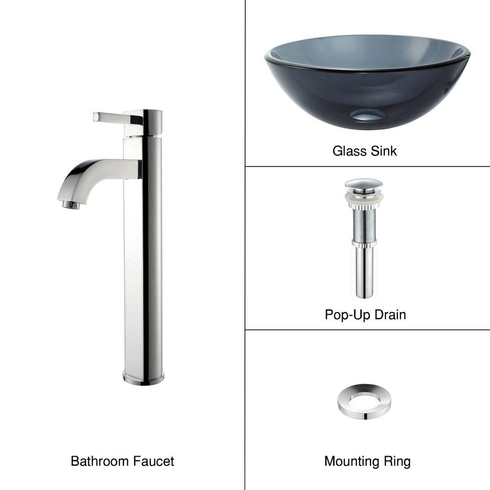 KRAUS Glass Vessel Sink in Black with Single Hole Single-Handle High Arc Ramus Faucet in Chrome
