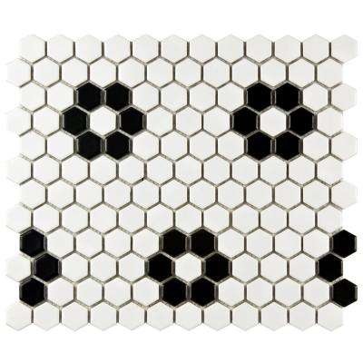 Metro Hex Matte White with Flower 10-1/4 in. x 11-3/4 in. x 5 mm Porcelain Mosaic Tile (8.54 sq. ft. / case)