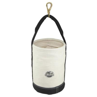 10 in. 1-Pocket Utility Ripstop Canvas Bucket with Hook and Leather Bottom