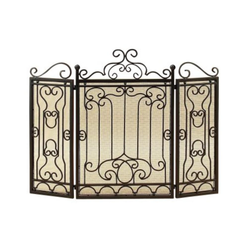 Awesome Benzara Vintage Style Black Metal 3 Panel Fireplace Screen Beutiful Home Inspiration Ommitmahrainfo