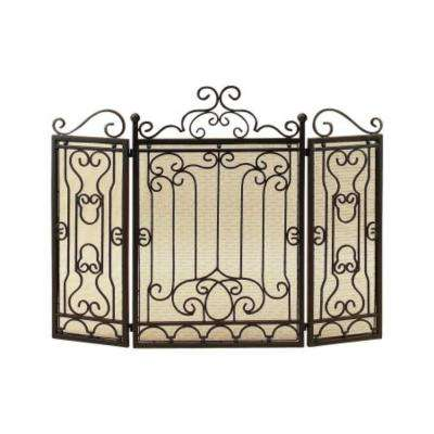 Vintage Style Black Metal 3-Panel Fireplace Screen