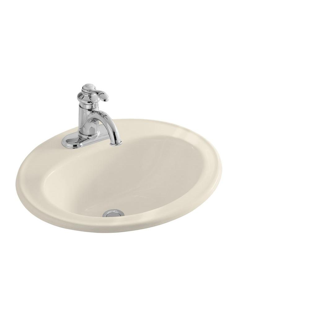 KOHLER Pennington Drop-In Vitreous China Bathroom Sink in Almond with Overflow Drain