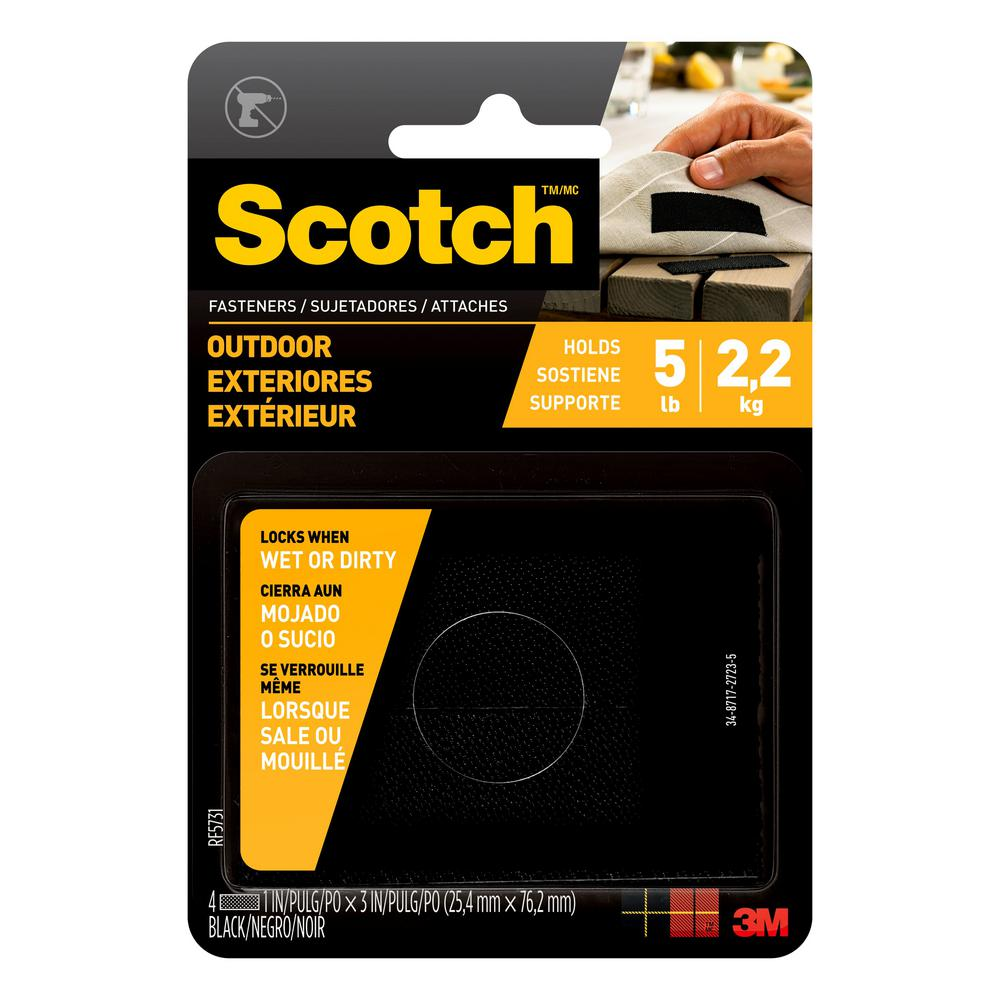 Scotch 1 in. x 3 in. Black Outdoor Fasteners (2 Sets-Pack)
