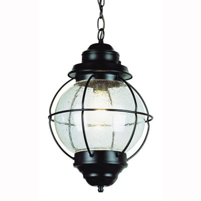Lighthouse 1-Light Outdoor Hanging Black Lantern with Seeded Glass