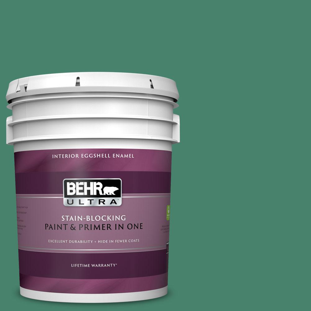 Behr Ultra 5 Gal M420 6 Tournament Field Eggshell Enamel Interior Paint And Primer In One 275305 The Home Depot