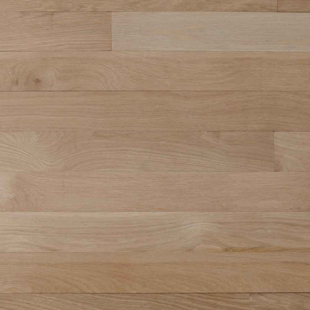 Select white oak 3 4 in thick x 2 1 4 in wide x varying for Unfinished oak flooring