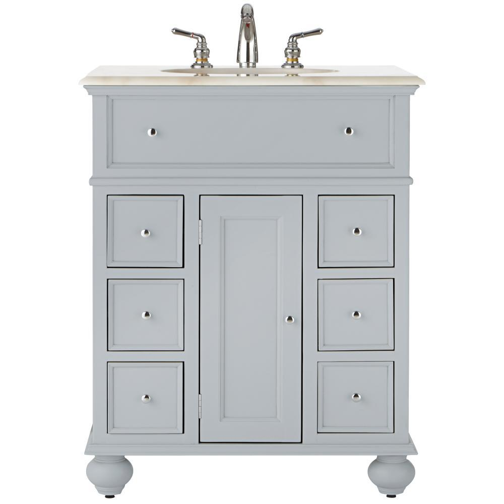 Home Decorators Collection Hampton Harbor 28 In Vanity In Dove Grey With Natural Marble Vanity Top In White With White Sink