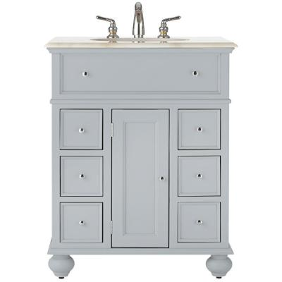 Hampton Harbor 28 in. Vanity in Dove Grey with Natural Marble Vanity Top in White with White Sink