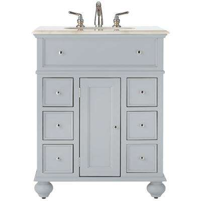 Hampton Harbor 28 in. Vanity in Dove Grey with Natural Marble Vanity Top in White with White Basin