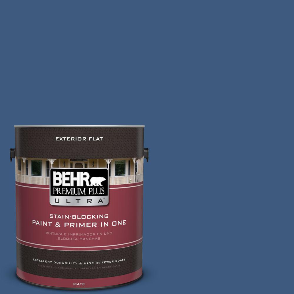 BEHR Premium Plus Ultra 1-gal. #M520-7 Admiral Blue Flat Exterior Paint
