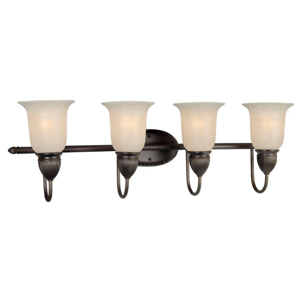 Talista 4-Light Antique Bronze Bath Vanity Light with Mica Flake Glass Shade