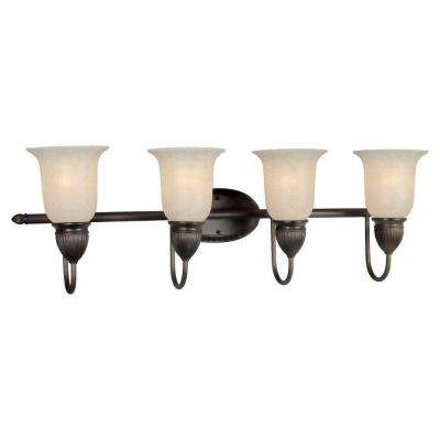 4-Light Antique Bronze Bath Vanity Light with Mica Flake Glass Shade