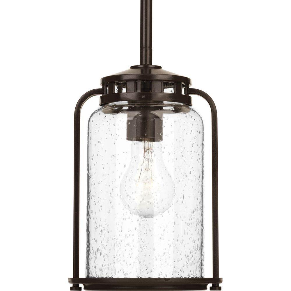 Botta Collection 1-Light 6.25 in. Outdoor Antique Bronze Hanging Lantern