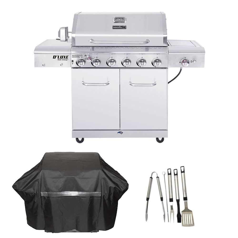 Nexgrill Deluxe 6-Burner Propane Gas Grill in Stainless Steel with Ceramic Searing Side and Rotisserie Burner Cover and Tool set