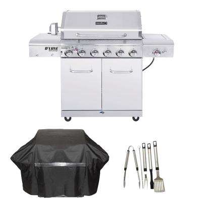 Deluxe 6-Burner Propane Gas Grill in Stainless Steel with Ceramic Searing Side and Rotisserie Burner Cover and Tool set