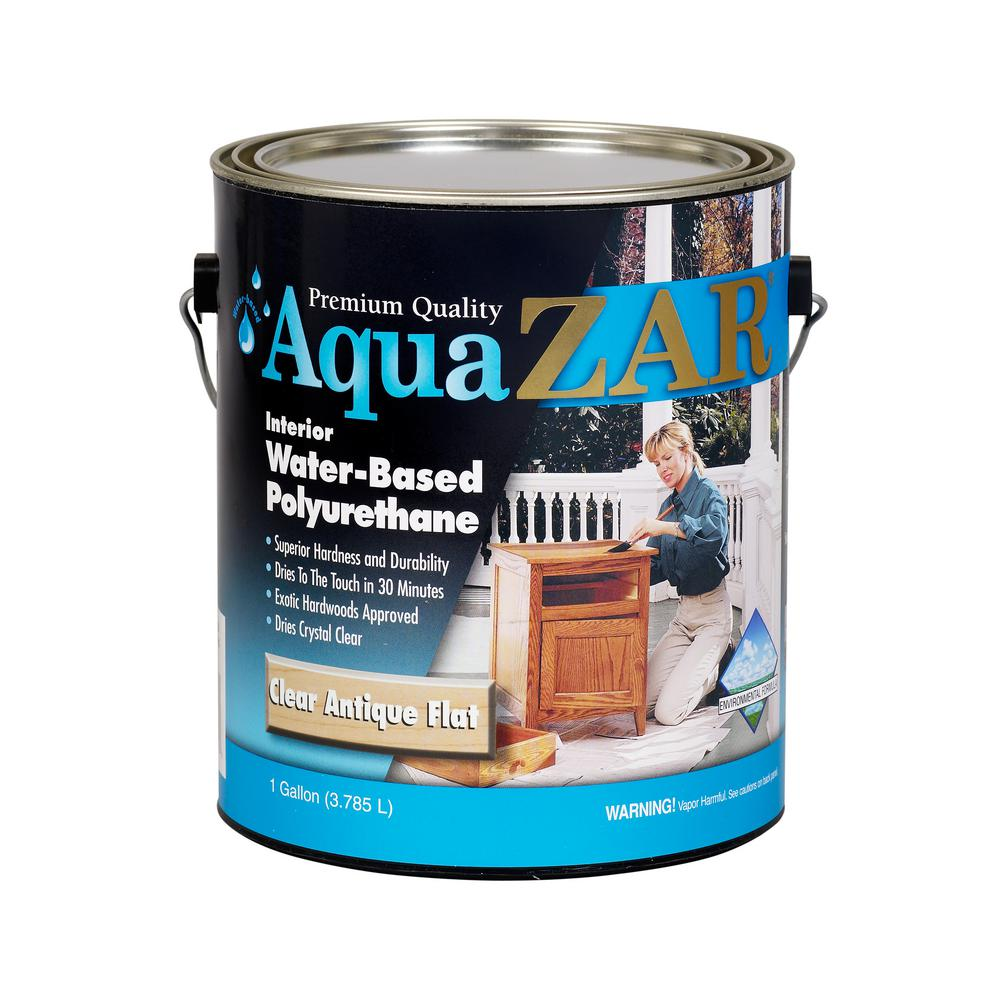 Zar 1 Gal Antique Flat Aqua Water Based Polyurethane 209117 The Home Depot