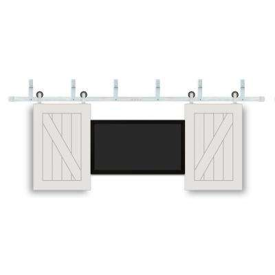 24 in. x 36 in. TV One Panel V-Groove Prefinished White Wood Interior Barn Door with Stainless Sliding Door Hardware